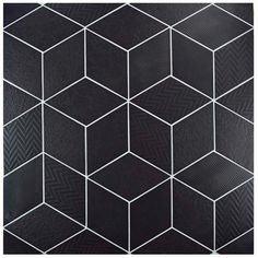 Bring a modern, geometric look to your home with the Rhombus Black in. Porcelain Floor and Wall Tile. This diamond-shaped tile features four unique patterns, including waves, zig-zags, Contemporary Tile, Stone Tiles, Tile Design, Diamond Shapes, Porcelain Floor, Wall Tiles, Tile Floor, Flooring, Bathroom Layout