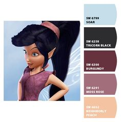Paint colors from Chip It! by Sherwin-Williams. Inspired by Disney Fairies Vidia.
