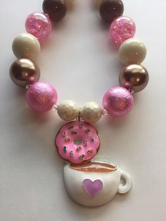 Coffee/hot Chocolate and Donut chunky bead necklace by MissMelsCottage on Etsy