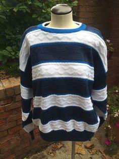 Vintage Men's Textured Stripe Crew Neck Sweater #CityStreets