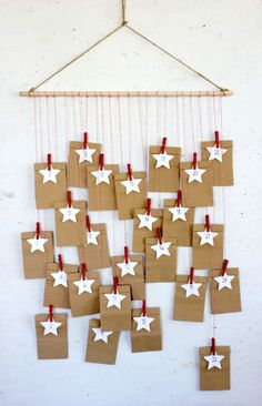 Advent Calendar with bags, Paper bag Christmas Countdown, Advent decor by NomadFineArt on Etsy