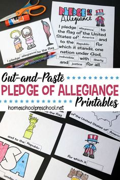 Cut and Paste Pledge of Allegiance Words Printable! Free Preschool, Preschool Printables, Preschool Activities, Free Printables, Hands On Activities, Learning Activities, Teaching Strategies, Pledge Of Allegiance Words, Kindergarten Social Studies