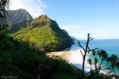 Hanakapi'ai Beach..view from Kalalau Trail on Kauai