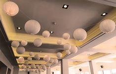 Hanging round paper lanterns hung from a bespoke matrix throughout the roof space of the River Rooms at the Mermaid Theatre London for an elegant summer wedding by Stressfreehire.com #venuetransformers Hanging Lanterns, Paper Lanterns, Fashion Company, Corporate Events, Event Design, Summer Wedding, Wedding Events, Bespoke, Theatre