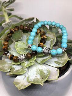 Eulen Halbedelstein Armband   Etsy Stone Beads, Owl, Beaded Bracelets, Etsy, Jewelry, Semi Precious Beads, Handmade, Bracelet, Jewlery
