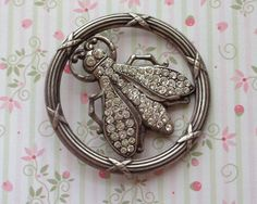 Incredible Vintage French Crystal Encrusted Bee by SalonVintique, $75.00