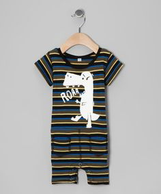 Take a look at this Black Stripe Dino 'Roar' Romper - Infant & Toddler by Ottomatic on #zulily today!
