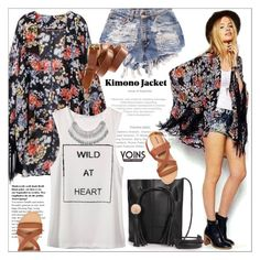 """""""Wild at heart"""" by purpleagony ❤ liked on Polyvore featuring Madewell, H&M, kimono and yoins"""