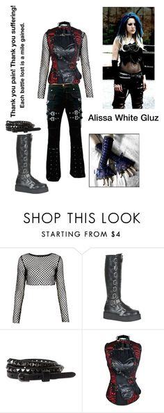 """""""Alissa White Gluz (from Arch Enemy and The Agonist)"""" by slipknot-raven666 ❤ liked on Polyvore featuring Motel, Demonia and 77kids"""