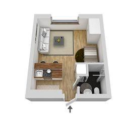 Comment rendre accueillant un tout petit appartement? PLANETE DECO a homes world Small Apartment Layout, Studio Apartment Layout, Small Apartment Interior, Micro Apartment, Small Apartments, Studio Apartment Floor Plans, Studio Floor Plans, Apartment Plans, Sims House Plans