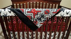Buck Deer, Lodge Red Black Buffalo Check, and Red Black Gray Ivory Aztec Crib Bedding Ensemble
