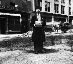 1890, New York, NY –A blind man stands alone on a street corner, offering pencils for sale in New York City. — Photo by Jacob Riis, Image © ...