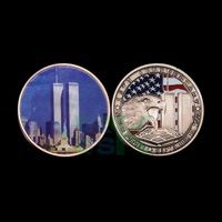 50pcs Wholesale United States The 15th Anniversary of 911 Never forget Memorial Craft World Trade Center Metal Challenge Coin