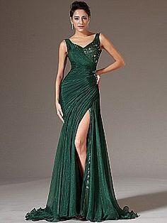 V Neck Sequin and Rhinestone Detailed Mermaid Evening Dress - USD $146.99