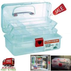 Storage Organizer Craft Tool Box 2 Tray Compartments Lip Lock Sewing Clear Boxs #NicoleCrafts