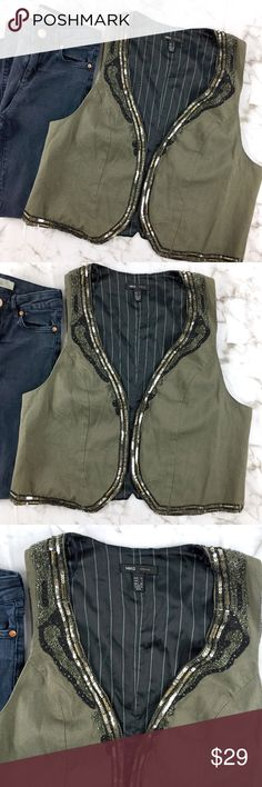 "MNG Casual Beaded Sequin Lined Olive Vest MNG Casual olive greeopen front vest lined with beads and sequins. Size Large and a cotton/polyester blend. Length approx 20"" Bust approx 20"". Pre owned in beautiful condition. Perfect for the holidays! Mango Jackets & Coats Vests"