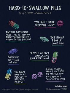 'The comics that show my life with ADHD' - Graphic entitled 'Hard to Swallow Pills' and a sub-heading of 'rejection sensitivity'. Forme Fitness, Web Comic, Mental Health Awareness, Mental Health Day, Mental Health Therapy, Mental Health Recovery, Positive Mental Health, Positive News, Improve Mental Health