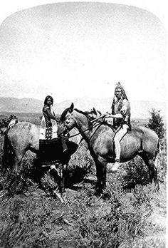 Uinta Ute warrior and his bride on horseback, northwest Utah. Photographed by John K. Hillers, 1874.