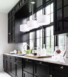 Painted Black Kitchen Cabinets Before And After. Black Kitchen Cabinets With Butcher Block Countertops. Black Kitchen Cabinets What Color Appliances. Black Kitchen Cabinets, Kitchen Cabinet Design, Kitchen Cabinetry, Black Kitchens, Home Kitchens, Kitchen Black, White Cabinets, Upper Cabinets, Kitchen Appliances