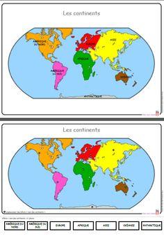 Différentes cartes à utiliser dans le cadre d'une leçon sur les continents. Continents Activities, Science Activities For Kids, Kindergarten Activities, Learning Centers, Early Learning, Daycare Lesson Plans, World Map Continents, Geography For Kids, Teachers Aide