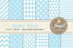 Baby Blue Digital Paper by JennyL Designs on @creativemarket