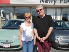 Winthrop MA Natives Kim and Jeff With Their New FIATs from our Kelly FIAT of Peabody dealership. Watch the video on our board to hear why they drove to Peabody to deal with Kelly.