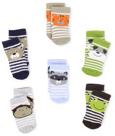 Amazon.com: Carter's Hosiery Baby-Boys Newborn 6 Pack Terry Face Socks: Clothing