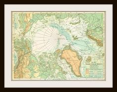 Antique north & south pole maps.  Again, the colours are compelling, as is the slightly unusual perspective.   From KnickofTime, via Etsy.