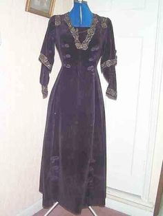 C.1909 purple velvet Princess style dress. Princess style dresses became popular in the 1870's. They could be extremely flattering to the fi...