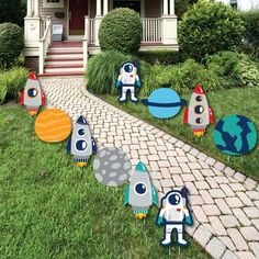 Space Baby Shower, Baby Shower Niño, Outer Space Decorations, Yard Decorations, Rocket Ship Party, Astronaut Party, Boy Birthday Parties, 2nd Birthday, Free Birthday