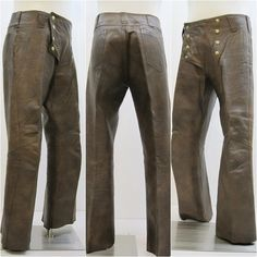 60s 70s Leather Pants Vintage Men's Groovy Brown by voguevintage, $150.00