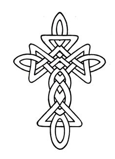 coloring pages of tattoo crosses | A beautiful black and white clipart image featuring a ...