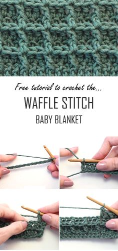 Crochet Waffle Stitch Baby Blanket - Tutorial For Beginners + Free Video Amazing step by step video tutorial for those who want to learn how to crochet the waffle stitch and crochet a DIY baby blanket during the process! Crochet Baby Blanket Tutorial, Baby Afghan Crochet, Manta Crochet, Crochet Bebe, Crochet Blanket Patterns, Crochet Stitch Tutorial, Crochet Gifts, Quilting For Beginners, Crochet For Beginners