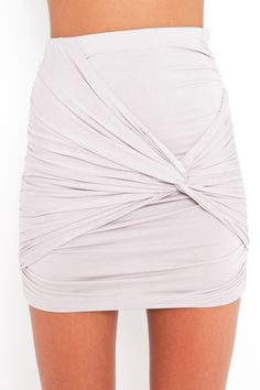 dove gray body-con skirt featuring ruched panels and a twisted knot detail.