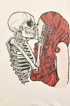 Skull Kiss Girl T-Shirt Tee Shirt Punk Rock Women T Shirts Off White TShirt Size L. $15.99, via Etsy.