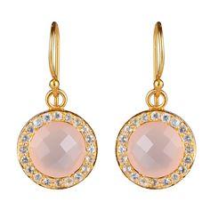 Fine øreringe med rosa calcedon som er omkranset af små hvide topaser