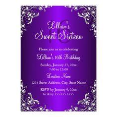Purple Sweet 16 Silver Pearl Damask Card