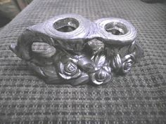 Price Import Metal Double Candle Holder with Roses Silver Color