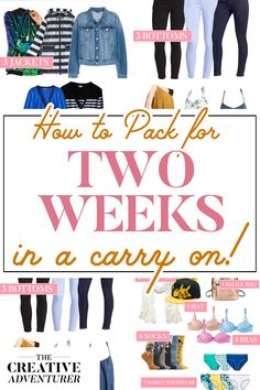 How to Pack for Two Weeks in a Carry-On — The Creative Adventurer Change the way you travel with these tips and trick for packing the perfect carry on bag for two weeks anywhere in the world! Carry On Packing, Packing For Europe, Packing Tips For Vacation, Suitcase Packing, Vacation Travel, What To Pack For Vacation, Packing Hacks, Packing Ideas, Packing Lists