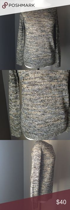 NWT high low sequined sweater Gorgeous! Sparkles in shades of gray, black and gold with scattered gold sequins for shine. Beautiful high low design. Easy pull over crew neck. Looks great with black leggings. 25 inches long in the front and 28 inches long in the back. Relativity Sweaters Crew & Scoop Necks