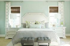 Nice soothing master bedroom. aqua/teal, wall color Benjamin Moore Palladian Blue. liking the carpet too.