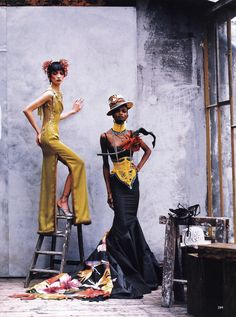 'Couture Clash', Ling Tan and Debra Shaw by Peter Lindbergh, Vogue US April 1997.  Both dresses are from Christian Dior Spring Summer 1997 Haute Couture. From left to right: [1] [2]