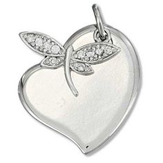 Bling Jewelry 925 Sterling Silver Heart Pendant and CZ Dragonfly Charm