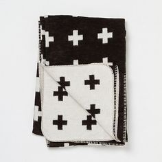 Charcoal Crosses Throw | BLack and White Throw