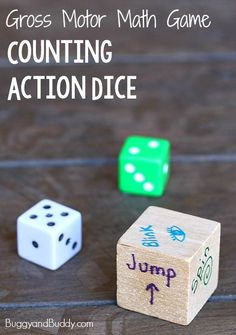 Gross Motor Math Game for Kids: Counting Action Dice (Great to keep the kids moving on a rainy or snowy day! Easy Math Games, Math Games For Kids, Preschool Games, Fun Math, Toddler Preschool, Dice Games, Math Games For Preschoolers, Math Games For Kindergarten, Action Games For Kids