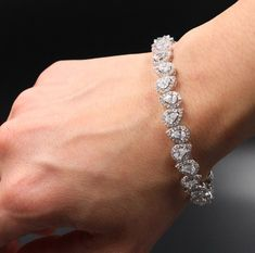 Bracelet White Gold Over Pear Cut 7 CT Halo Diamond Tennis Bracelet Diamond Bracelets, Ankle Bracelets, Diamond Jewelry, Cute Jewelry, Bridal Jewelry, Geometric Necklace, Bridesmaid Earrings, Sea Glass Jewelry, Adjustable Bracelet
