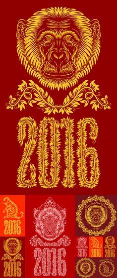Блог Колибри: 2016 monkey floral pattern design vector