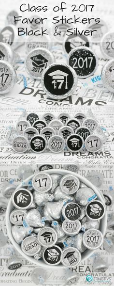 Black and Silver Class of 2017 Stickers that make the perfect favor or sweet treat at your party!