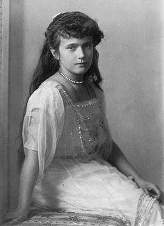 Grand Duchess Anastasia Nikolaevna of Russia (Russian: Великая Княжна Анастасия Николаевна Романова, Velikaya Knyazhna Anastasiya Nikolayevna Romanova) (June 18 [O.S. June 5] 1901 – July 17, 1918), was the youngest daughter of Tsar Nicholas II of Russ...