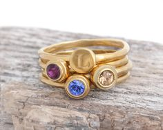Gold Stack Ring Set with Initial and Birthstones. Ring Set of 4 Stacking Rings in Gold Vermeil. Gold Mother's Ring with Initial and Birthstones. Ring Set of 4 Stacking Rings in Gold Vermeil Sweet Ring, Mother Rings, Stacking Rings, Personalized Jewelry, Gifts For Mom, Initials, Gold Rings, Rings For Men, Birthstones